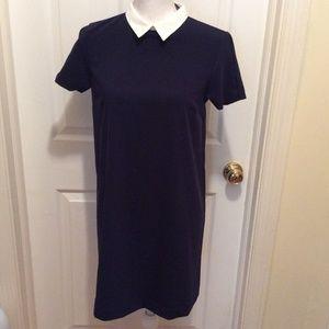 ZARA Basic Dress S Blue White Collar Short Sleeve